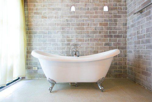 porcelain-enameled iron tub