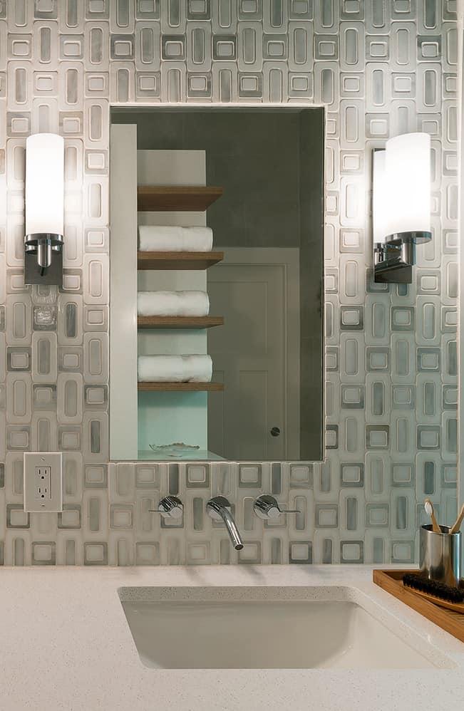 Sconces on each side vanity mirror