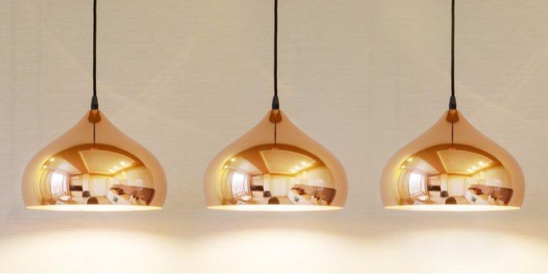 Best Bathroom Lighting - 3 hanging brass light fixtures