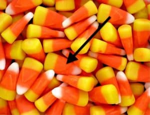 arrow points to orange part of candy corn