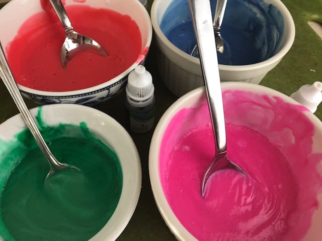 This shows melted soap and dye that will be made into bath crayons