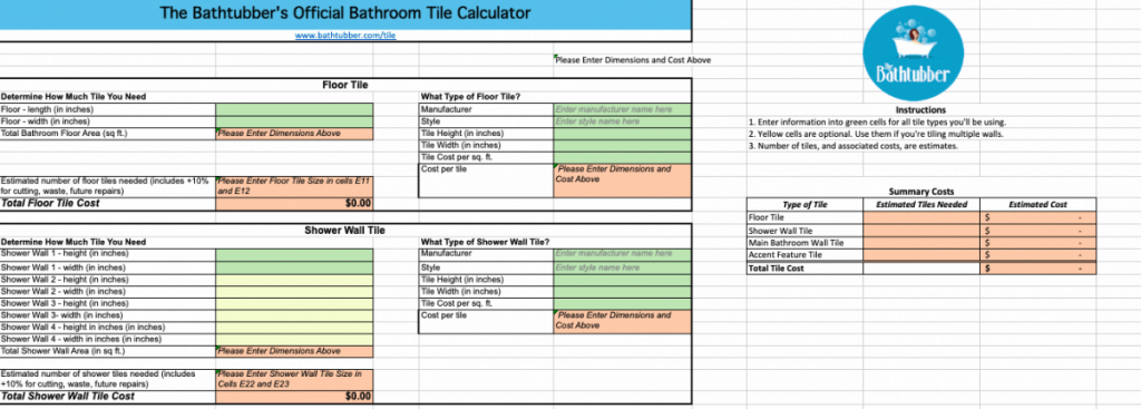 The Bathtubber's Official Bathroom Tile Calculator
