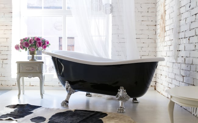 black clawfoot bathtub