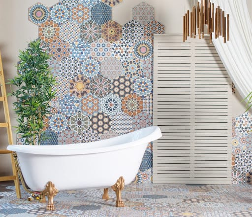 Choose a main tile for the bathroom - neutral or statement tile