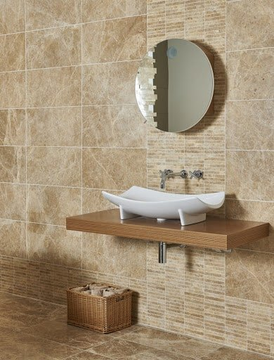 Natural stone tile creates a soothing spac