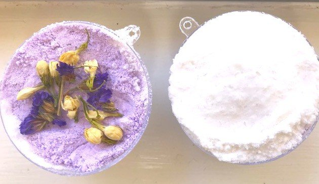 "homemade bath bomb called ""Fall Asleep"" in plastic ornament moldp"