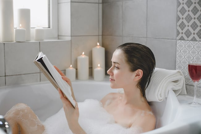 Escape to a hot bath for some desperately needed alone time