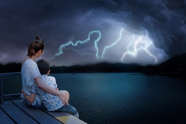 Water is an excellent conductor of electricity. So don't stay by the water during a thunderstorm.