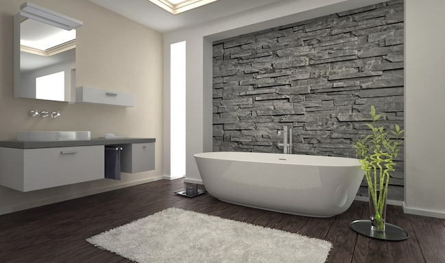 Bathroom designed in neutral colors for resale