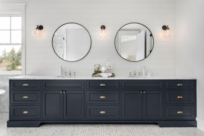 A vanity with double sinks is attractive for resales