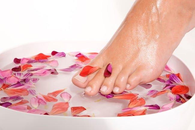 foot soak with rose petals