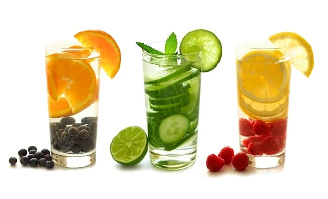 3 glasses of fruit infused water - be sure to hydrate before and after floatation therapy