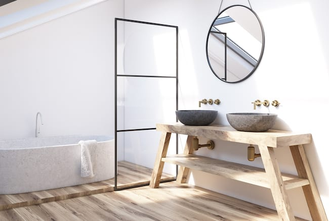 contemporary bathroom with double sink