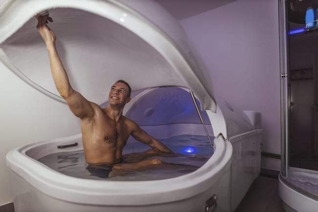 man inside a float pod