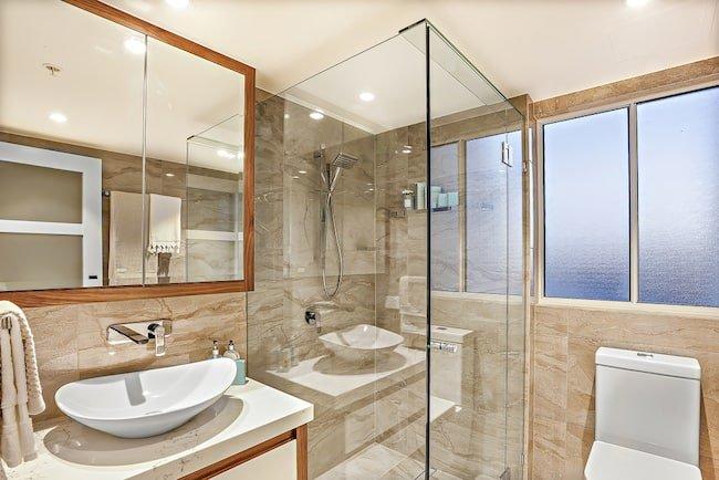 modern bathroom with mold-resistant shower door