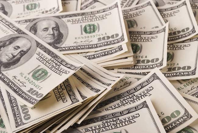 A pile of 100 dollar bills