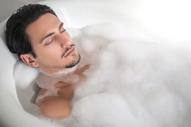 man in bubble bath