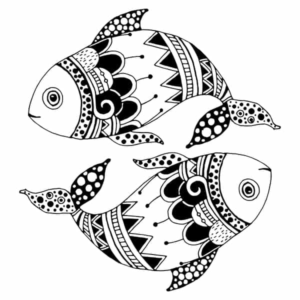 The symbol for the water sign Pisces is two fish