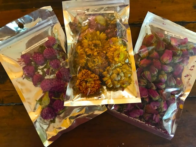 Add dried flowers to your milk and honey bath