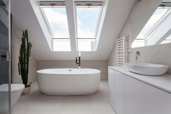 bath under skylights