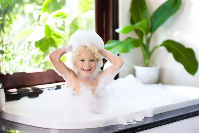 boy in bubble bath