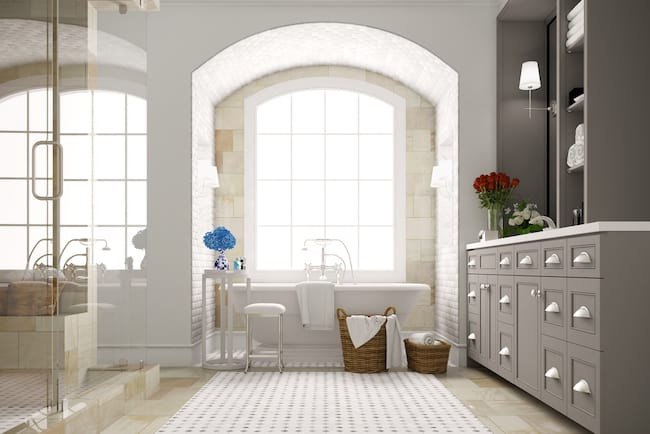 large curved window with bath underneath