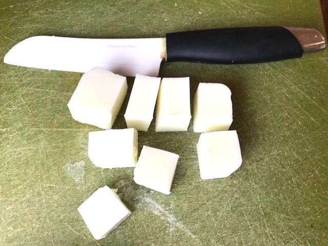 cut soap base into cubes