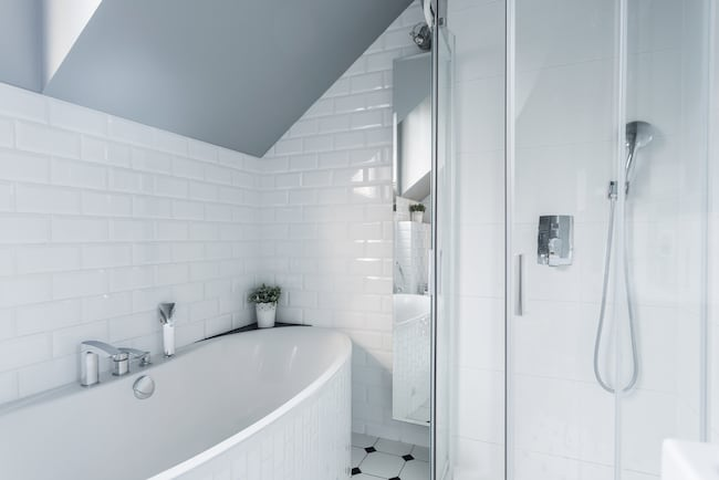 freestanding tub in rental unit