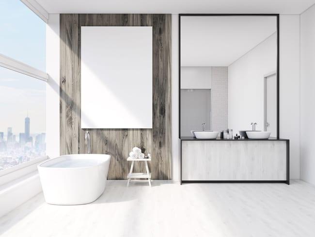 large mirror is backsplash for double sink vanity