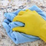 cleaning a bathroom vanity countertop
