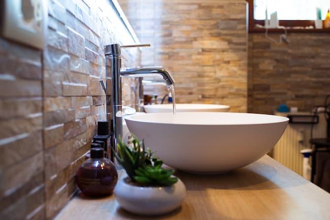 bathroom vanity with vessel sinks