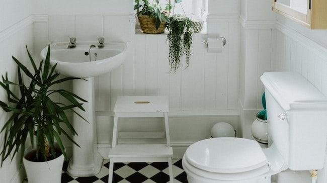 vintage pedestal sink with tile backsplash
