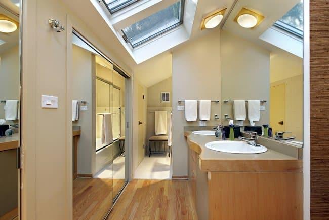 double skylights over double sinks in master bathroom